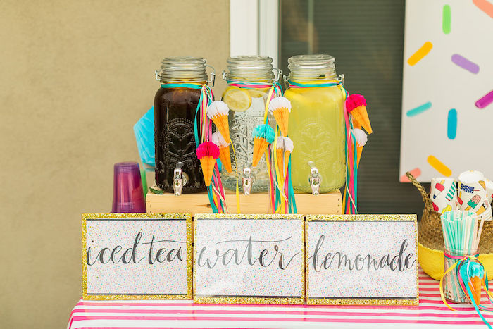 Beverage Dispensers from a Sprinkles and Ice Cream Birthday Party on Kara's Party Ideas | KarasPartyIdeas.com (40)