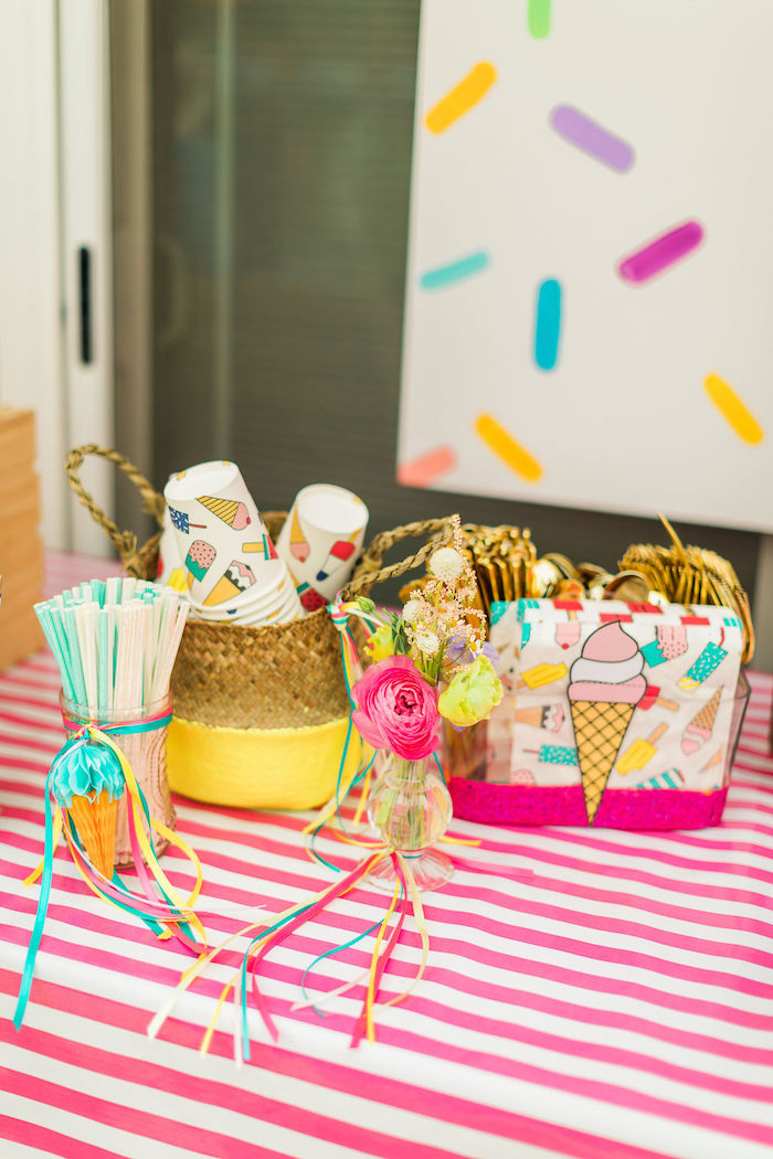 Ice Cream-inspired Partyware from a Sprinkles and Ice Cream Birthday Party on Kara's Party Ideas | KarasPartyIdeas.com (39)