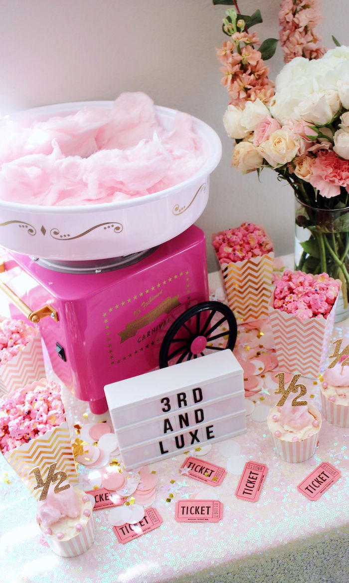 Pink Cotton Candy & Popcorn from a Sweet 6 Months Party on Kara's Party Ideas | KarasPartyIdeas.com (10)