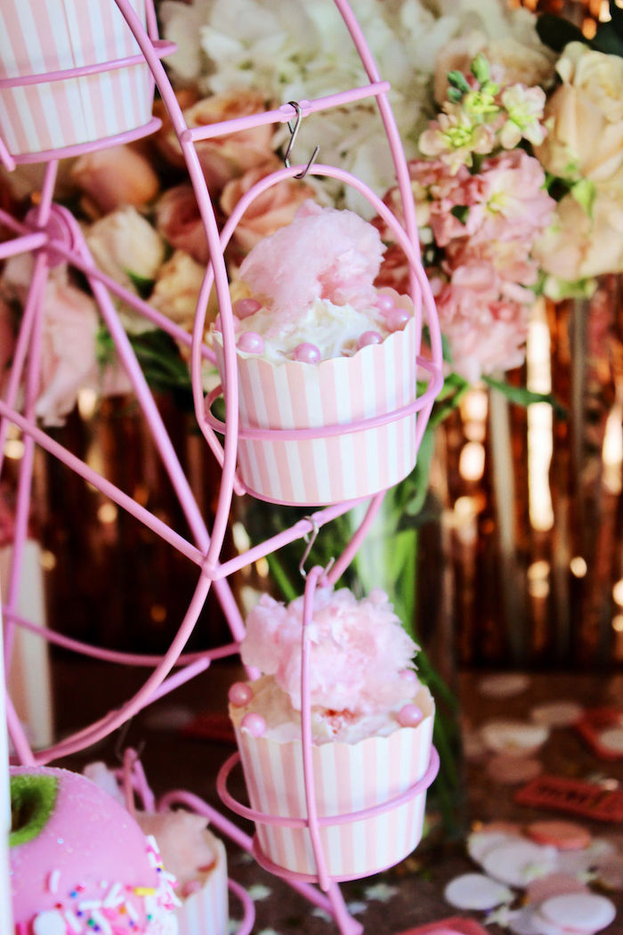 Cotton Candy-topped Cupcakes from a Sweet 6 Months Party on Kara's Party Ideas | KarasPartyIdeas.com (9)