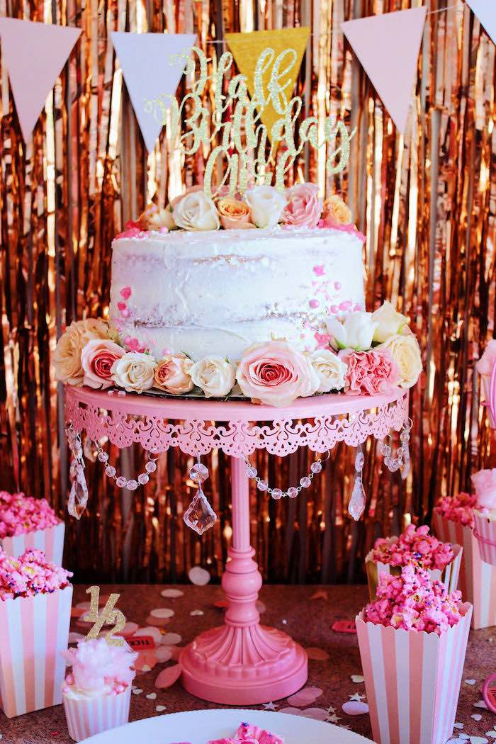 Floral Glam Cake from a Sweet 6 Months Party on Kara's Party Ideas | KarasPartyIdeas.com (7)