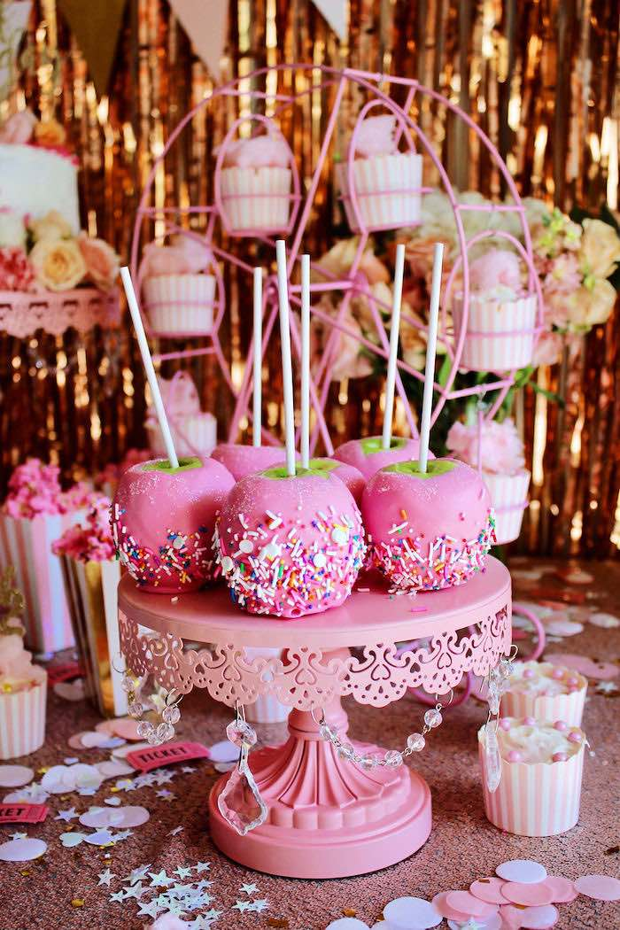 Pink Candied Apples from a Sweet 6 Months Party on Kara's Party Ideas | KarasPartyIdeas.com (6)