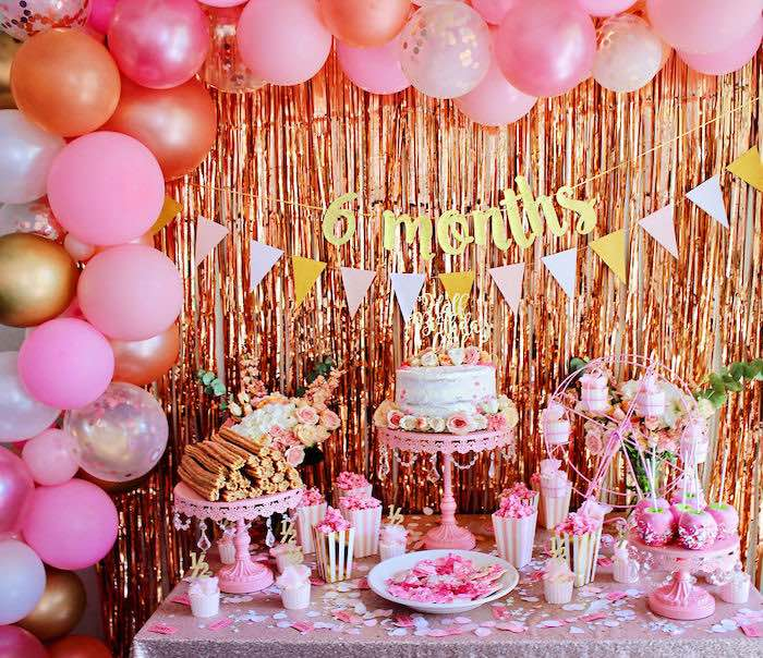 Pink Glam Dessert Table from a Sweet 6 Months Party on Kara's Party Ideas   KarasPartyIdeas.com (5)