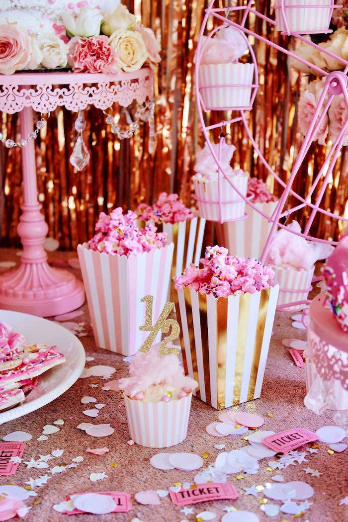Pink Popcorn in Glam Striped Popcorn Boxes from a Sweet 6 Months Party on Kara's Party Ideas   KarasPartyIdeas.com (4)
