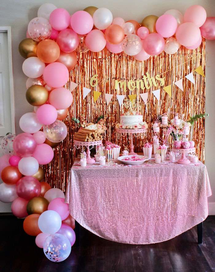 Pink Glam Dessert Table from a Sweet 6 Months Party on Kara's Party Ideas   KarasPartyIdeas.com (2)