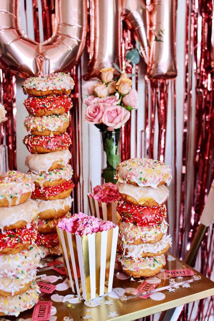 Pink + White Sprinkled Doughnut Towers from a Sweet 6 Months Party on Kara's Party Ideas   KarasPartyIdeas.com (17)