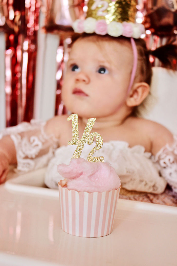 Pink Cupcake with Glam 1/2 Cupcake Topper from a Sweet 6 Months Party on Kara's Party Ideas | KarasPartyIdeas.com (15)