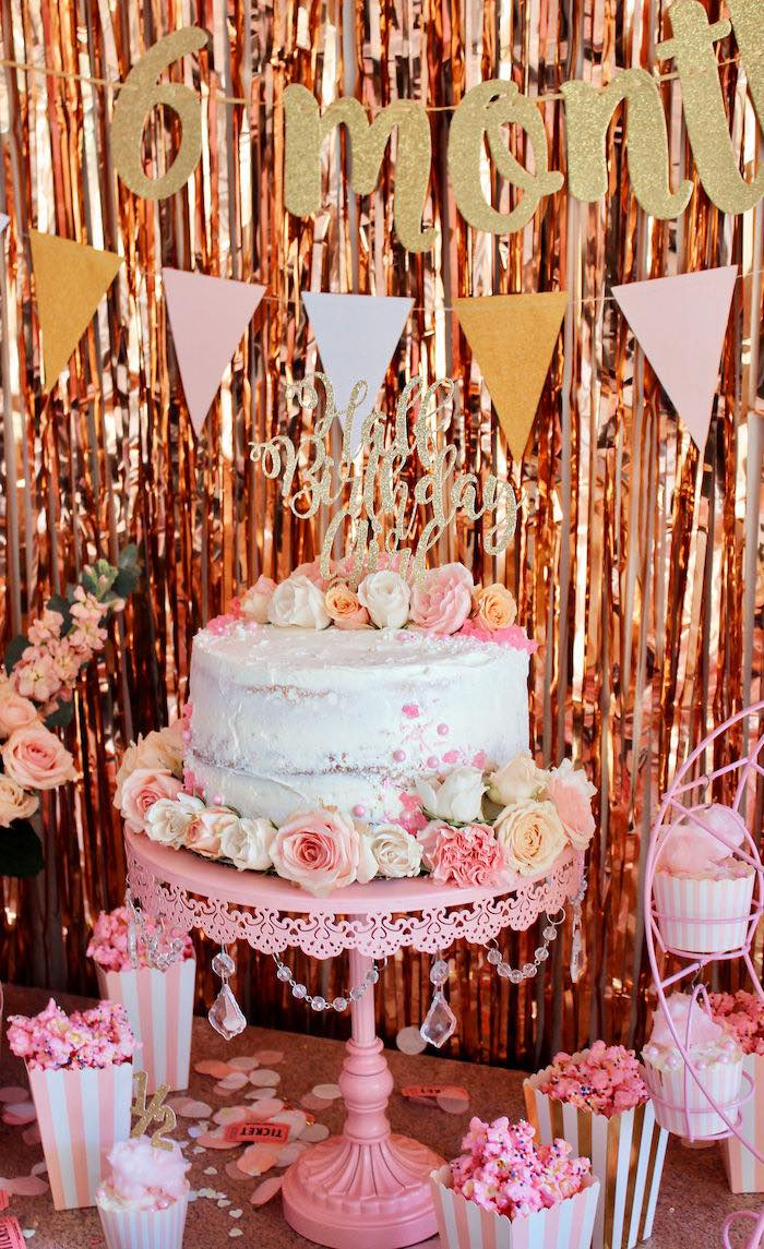 Floral Glam Cake from a Sweet 6 Months Party on Kara's Party Ideas | KarasPartyIdeas.com (12)