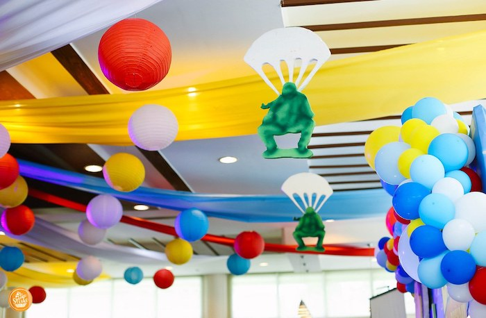 Parachuting Toy Soldier Ceiling from a Toy Story Birthday Party on Kara's Party Ideas | KarasPartyIdeas.com (18)