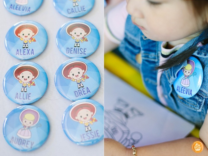 Jessie-printed Name Badge Pins from a Toy Story Birthday Party on Kara's Party Ideas | KarasPartyIdeas.com (27)