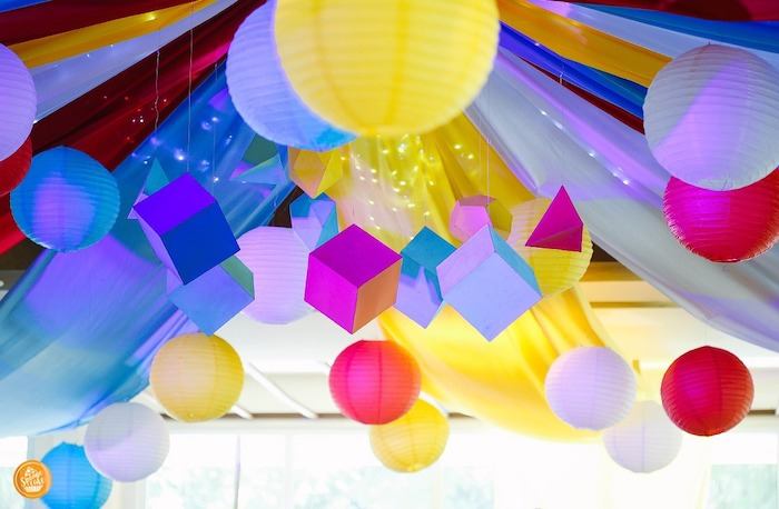 Paper Lantern & Block Ceiling from a Toy Story Birthday Party on Kara's Party Ideas | KarasPartyIdeas.com (8)