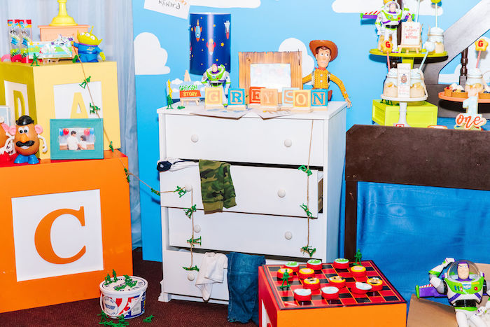 Andy's Dresser Dessert Table from a Toy Story Birthday Party on Kara's Party Ideas | KarasPartyIdeas.com (36)