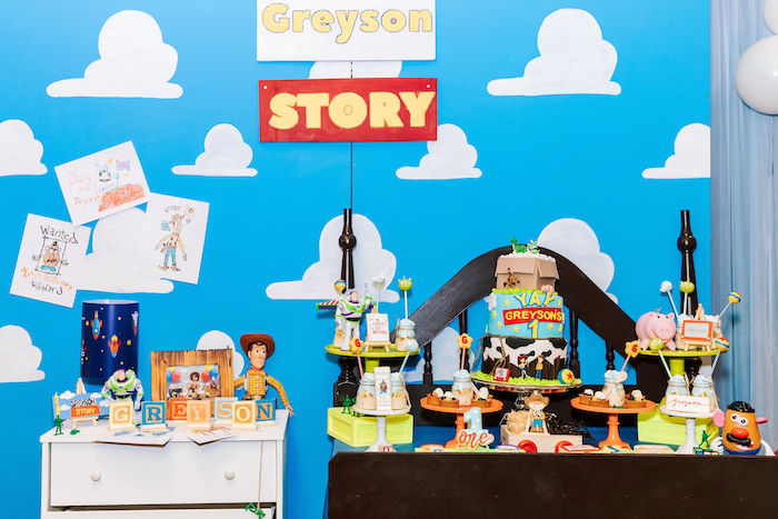 Andy's Bedroom Dessert Spread from a Toy Story Birthday Party on Kara's Party Ideas | KarasPartyIdeas.com (30)