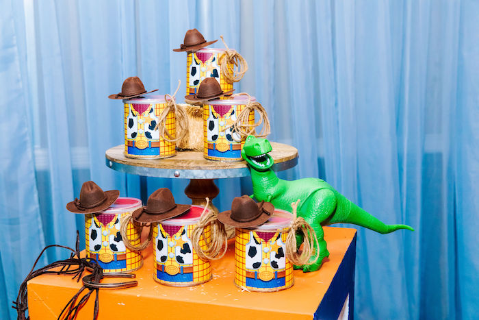 Sheriff Woody Favor Cans from a Toy Story Birthday Party on Kara's Party Ideas | KarasPartyIdeas.com (27)