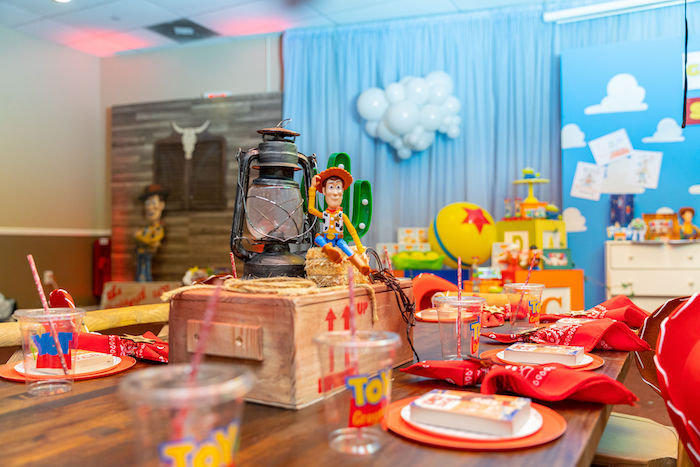 Sheriff Woody-inspired Kid Table from a Toy Story Birthday Party on Kara's Party Ideas | KarasPartyIdeas.com (54)