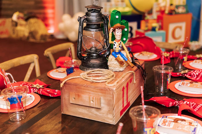 Sheriff Woody-inspired Table Centerpiece from a Toy Story Birthday Party on Kara's Party Ideas | KarasPartyIdeas.com (23)
