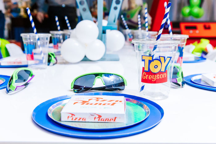 Pizza Planet Table Setting from a Toy Story Birthday Party on Kara's Party Ideas | KarasPartyIdeas.com (13)