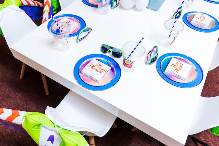Pizza Planet Table Setting from a Toy Story Birthday Party on Kara's Party Ideas | KarasPartyIdeas.com (12)