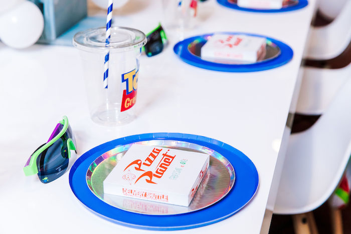 Pizza Planet Table Setting from a Toy Story Birthday Party on Kara's Party Ideas | KarasPartyIdeas.com (9)