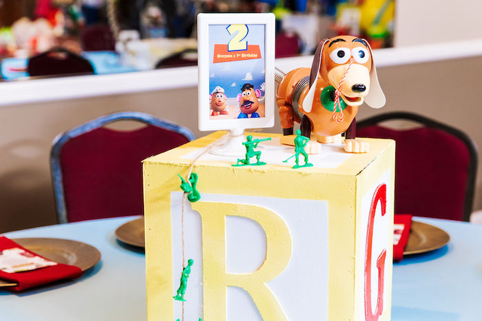 Toy Story Themed Toy Block Table Centerpiece from a TToy Story Birthday Party on Kara's Party Ideas | KarasPartyIdeas.com (6)