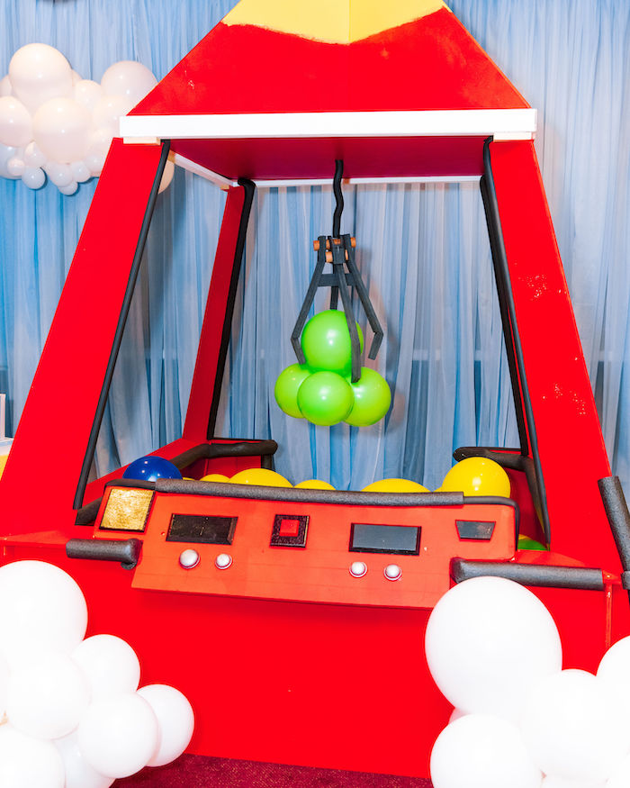 The Claw - Cardboard Balloon Decoration from a Toy Story Birthday Party on Kara's Party Ideas | KarasPartyIdeas.com (4)