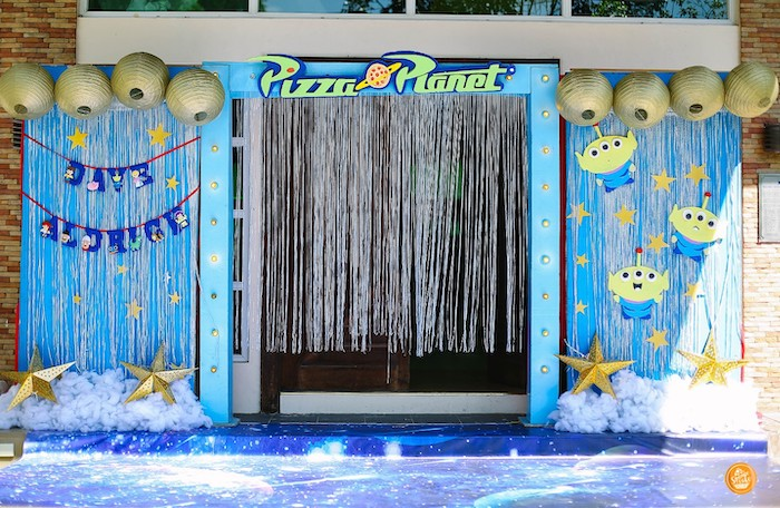 Pizza Planet-inspired Party Entrance from a Toy Story Birthday Party on Kara's Party Ideas | KarasPartyIdeas.com (22)