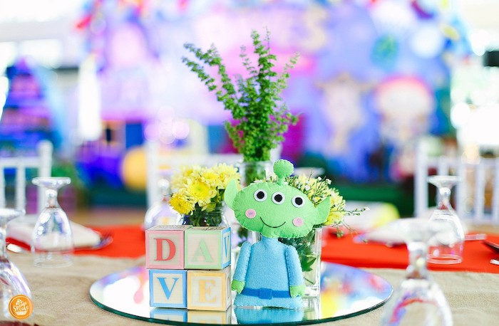 Toy Story Alien Table Centerpiece from a Toy Story Birthday Party on Kara's Party Ideas | KarasPartyIdeas.com (20)