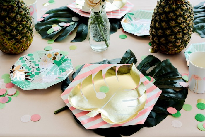 Tropical Leaf Plate Table Setting from a Tropical Summer Party on Kara's Party Ideas | KarasPartyIdeas.com (12)