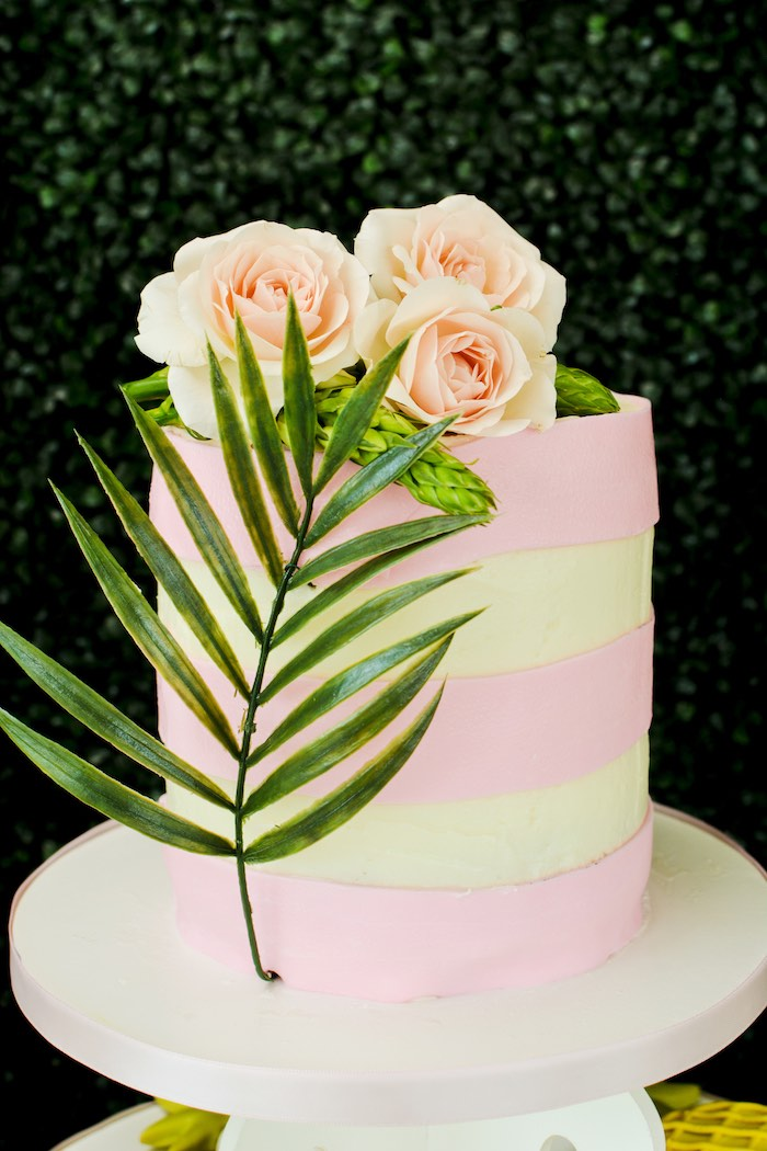 Tropical Themed Pink + White Cake from a Tropical Summer Party on Kara's Party Ideas | KarasPartyIdeas.com (11)
