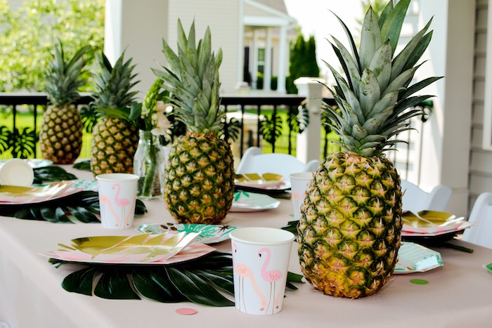 Tropical Party Table + Table Settings & Centerpieces from a Tropical Summer Party on Kara's Party Ideas | KarasPartyIdeas.com (21)