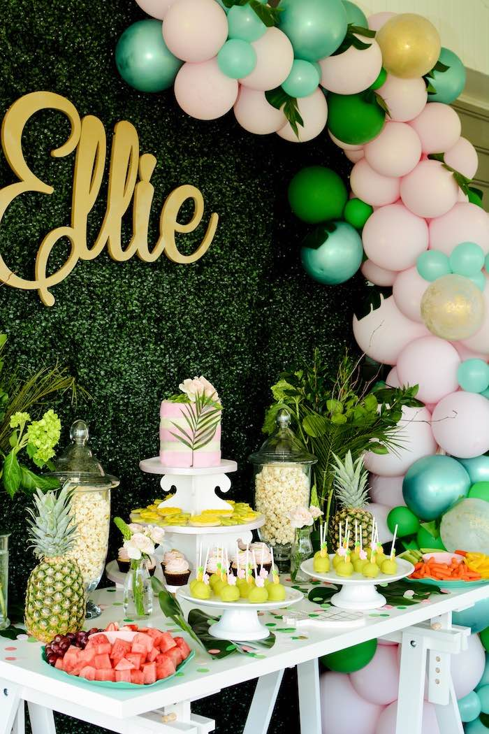 Tropical Party Table from a Tropical Summer Party on Kara's Party Ideas | KarasPartyIdeas.com (20)