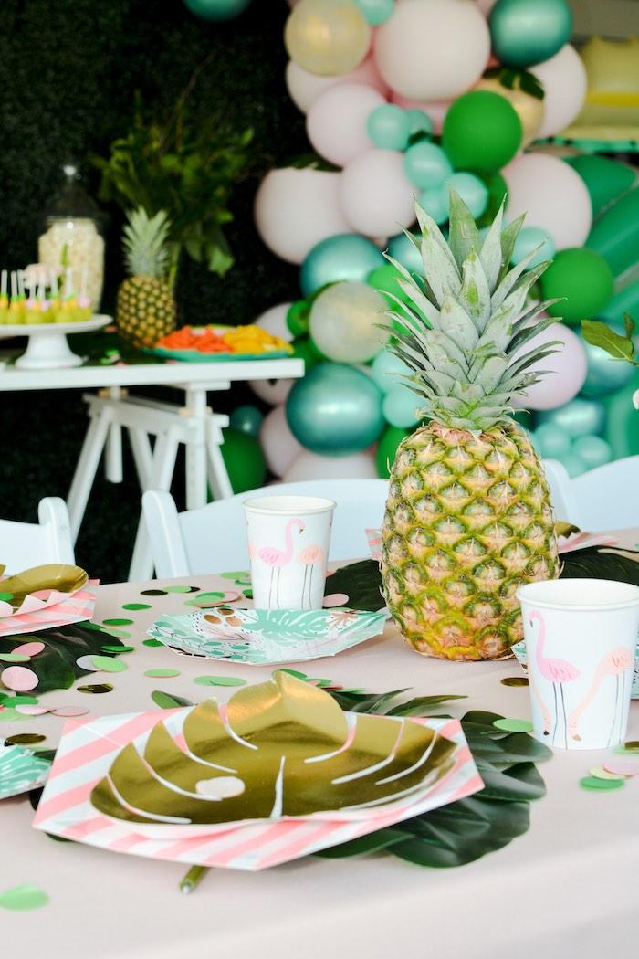 Tropical Leaf Table Setting from a Tropical Summer Party on Kara's Party Ideas | KarasPartyIdeas.com (16)