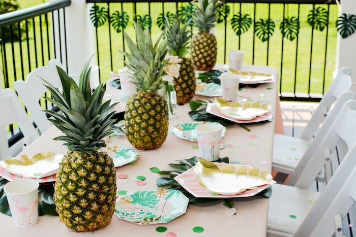 Pineapple Party Table from a Tropical Summer Party on Kara's Party Ideas | KarasPartyIdeas.com (15)