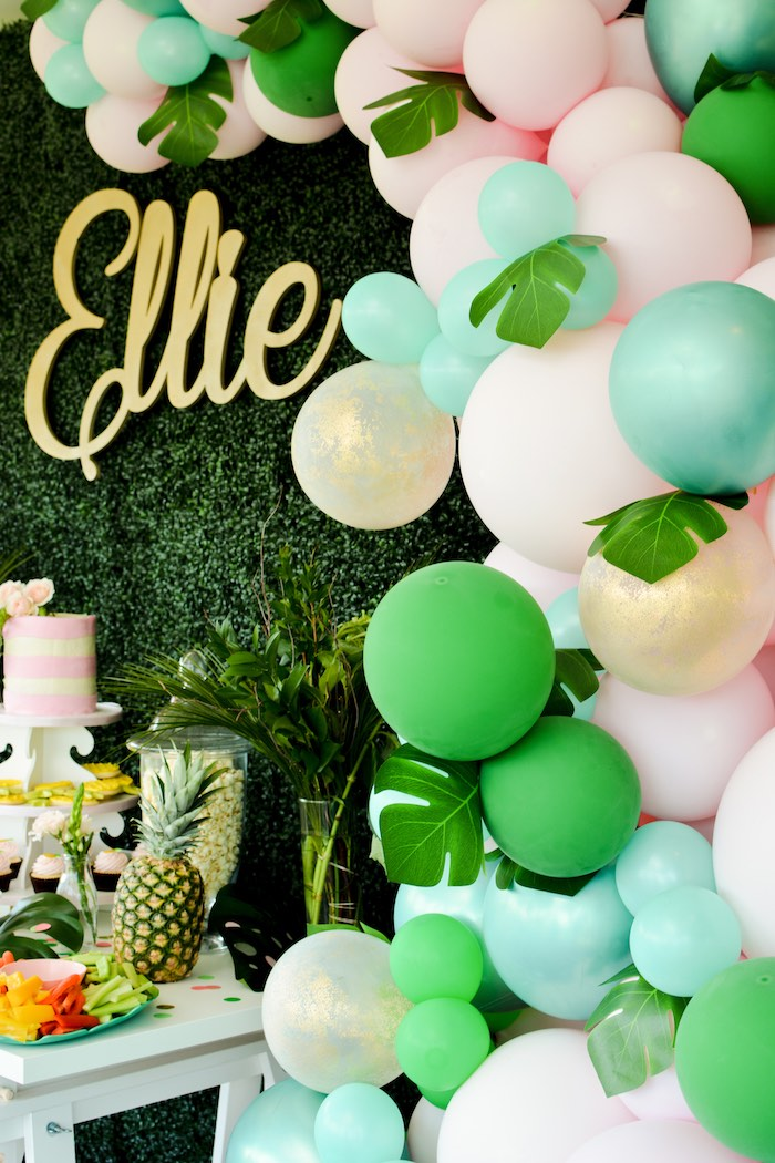 Tropical-inspired Balloon Garland from a Tropical Summer Party on Kara's Party Ideas | KarasPartyIdeas.com (13)