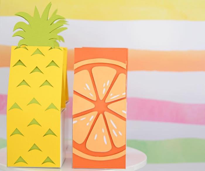Pineapple & Orange Slice Favor Pouches from a Tutti Frutti Pool Party on Kara's Party Ideas | KarasPartyIdeas.com (17)