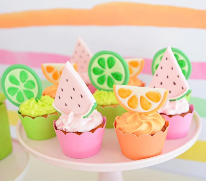 Tutti Frutti Cupcakes from a Tutti Frutti Pool Party on Kara's Party Ideas | KarasPartyIdeas.com (16)