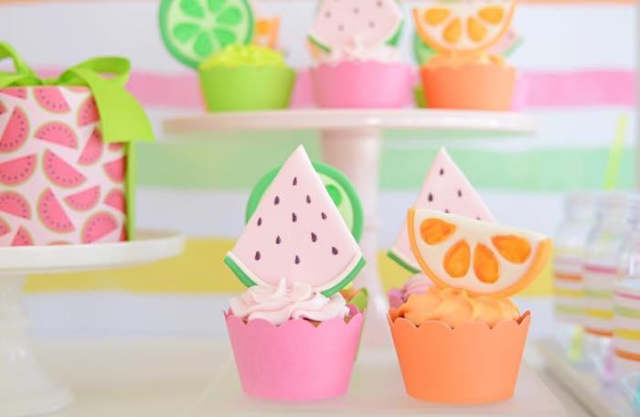 Tutti Frutti Cupcakes from a Tutti Frutti Pool Party on Kara's Party Ideas | KarasPartyIdeas.com (15)
