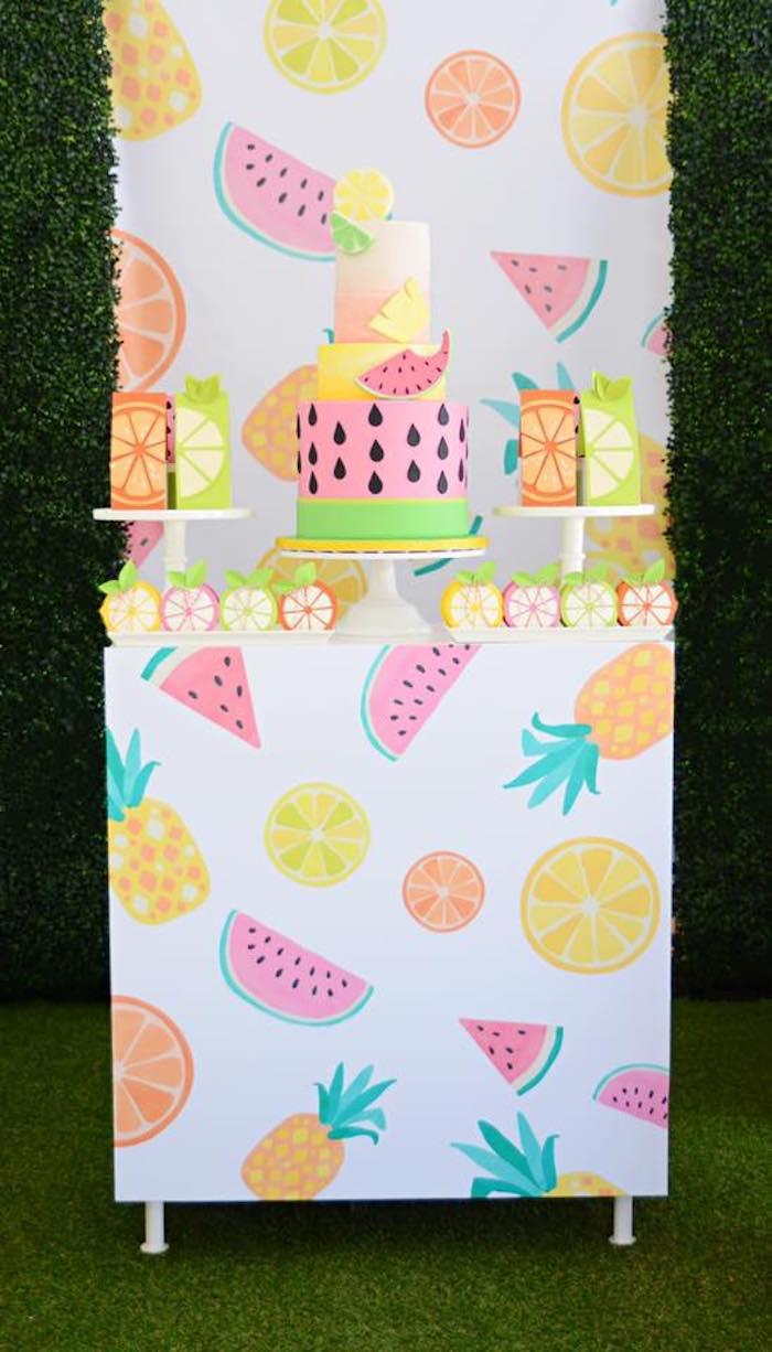 Tutti Frutti Dessert Table from a Tutti Frutti Pool Party on Kara's Party Ideas | KarasPartyIdeas.com (14)