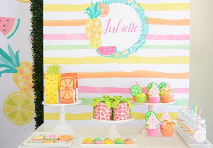 Tutti Frutti Dessert Table from a Tutti Frutti Pool Party on Kara's Party Ideas | KarasPartyIdeas.com (13)