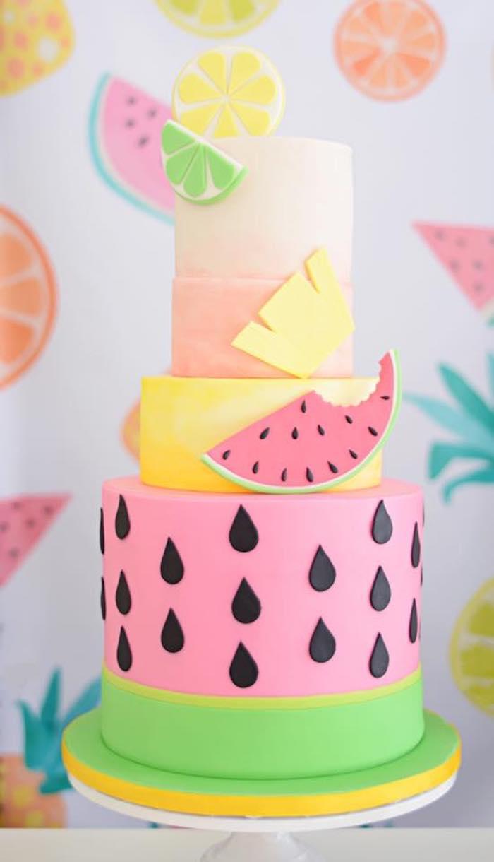 Tutti Frutti Cake from a Tutti Frutti Pool Party on Kara's Party Ideas | KarasPartyIdeas.com (12)