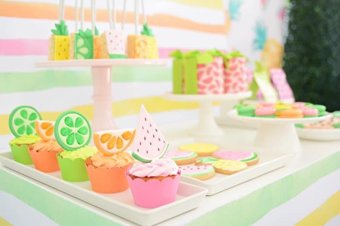 Tutti Frutti Cupcakes + Cookies from a Tutti Frutti Pool Party on Kara's Party Ideas | KarasPartyIdeas.com (9)