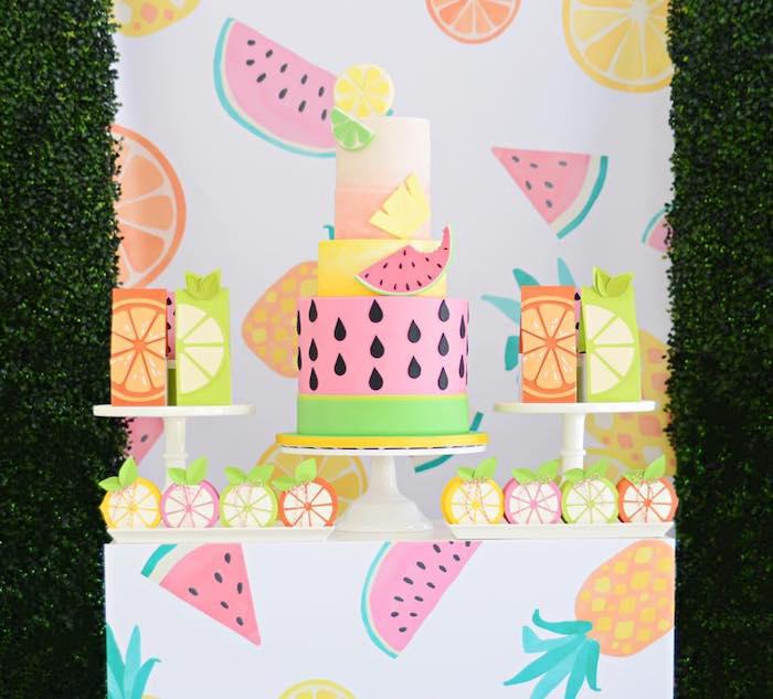 Tutti Frutti Dessert Table from a Tutti Frutti Pool Party on Kara's Party Ideas | KarasPartyIdeas.com (25)