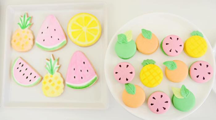 Fruit-inspired Tutti Frutti Sugar Cookies + Macarons from a Tutti Frutti Pool Party on Kara's Party Ideas | KarasPartyIdeas.com (24)