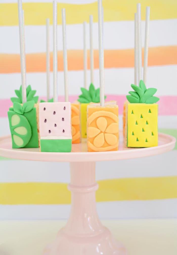 Tutti Frutti Rice Krispie Treats from a Tutti Frutti Pool Party on Kara's Party Ideas | KarasPartyIdeas.com (23)