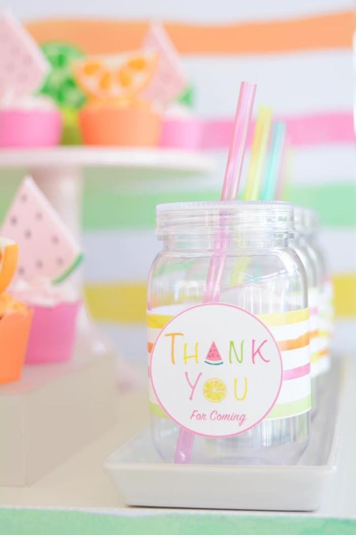 Plastic Mason Jar Drink Bottles from a Tutti Frutti Pool Party on Kara's Party Ideas | KarasPartyIdeas.com (22)