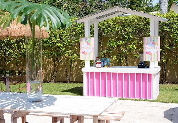 Smoothie Stand from a Tutti Frutti Pool Party on Kara's Party Ideas | KarasPartyIdeas.com (21)