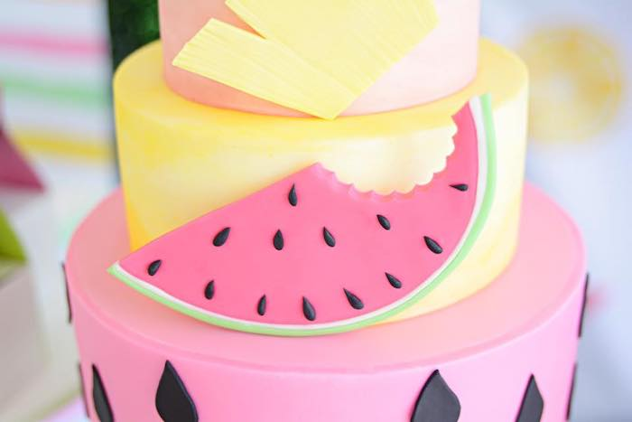 Watermelon Slice Cake Detail from a Tutti Frutti Pool Party on Kara's Party Ideas | KarasPartyIdeas.com (18)