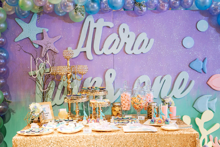 Under the Sea-inspired Dessert Table from an Under the Sea Birthday Party on Kara's Party Ideas | KarasPartyIdeas.com (19)