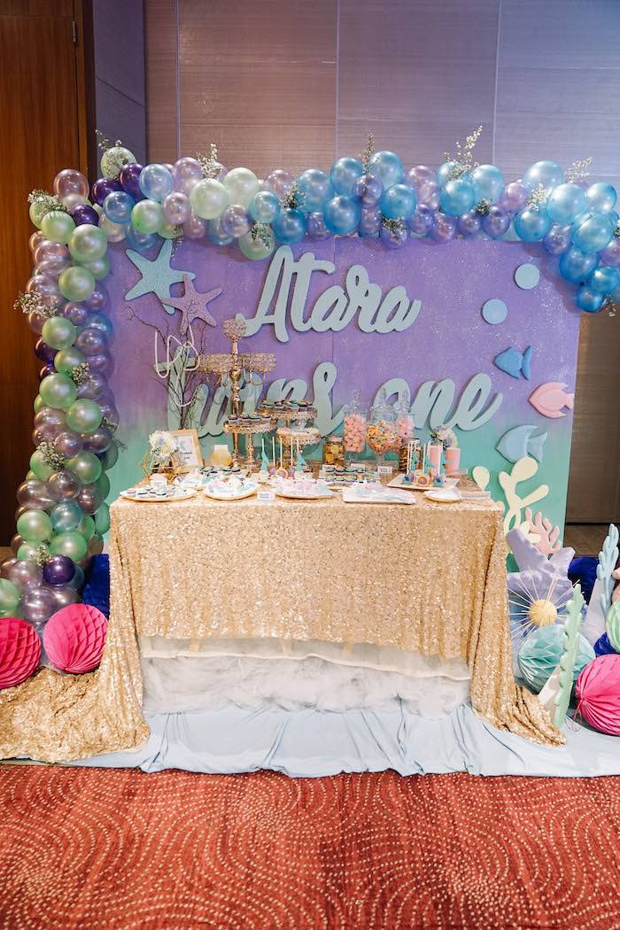 Under the Sea Themed Dessert Table from an Under the Sea Birthday Party on Kara's Party Ideas | KarasPartyIdeas.com (34)