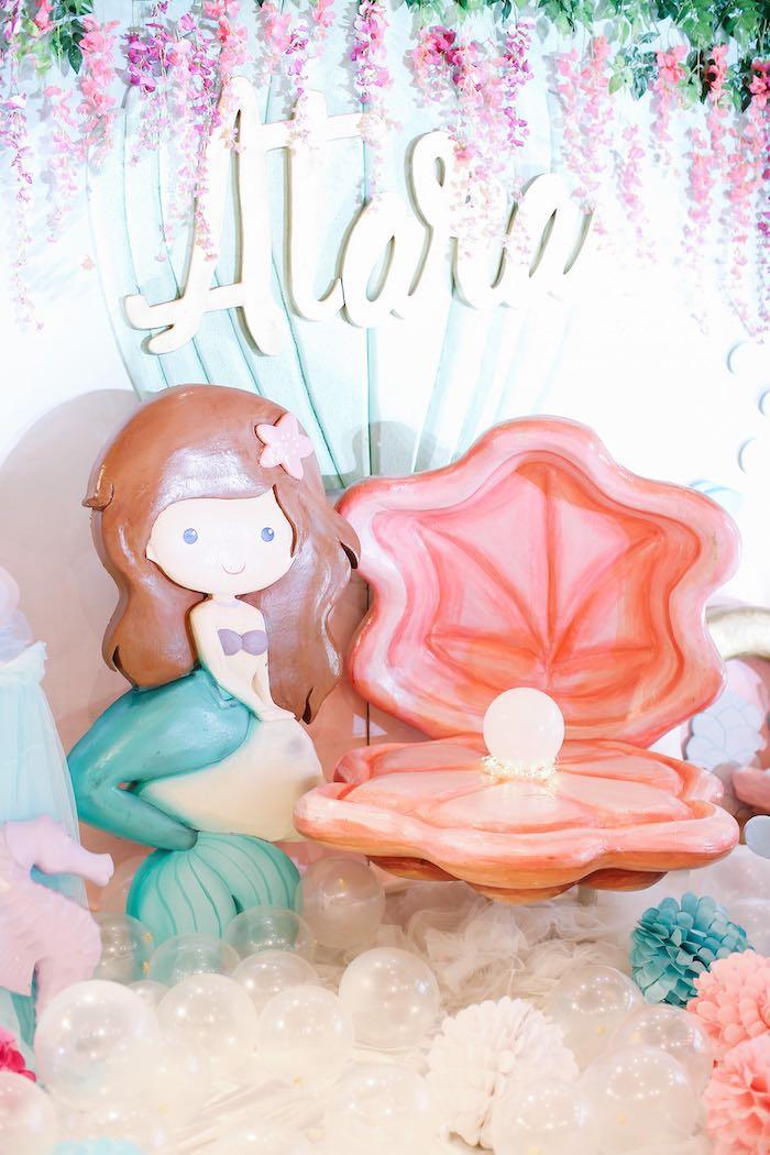 Mermaid Backdrop from an Under the Sea Birthday Party on Kara's Party Ideas | KarasPartyIdeas.com (15)